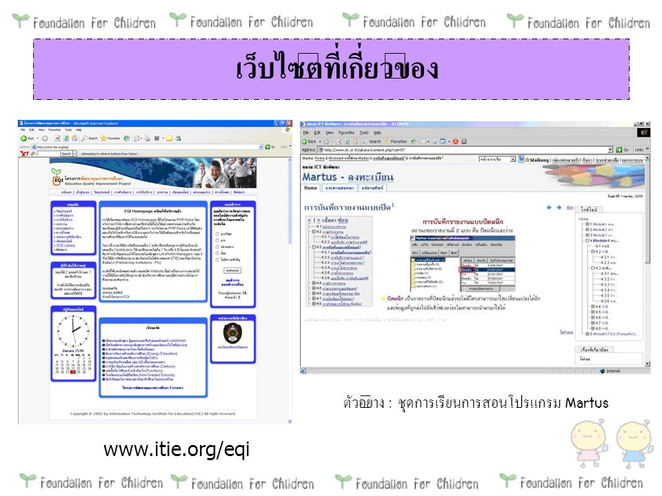 เว็บไซต์ที่เกี่ยวข้อง www.itie.org/eqi ตัวอย่าง : ชุดการเรียนการสอนโปรแกรม Martus