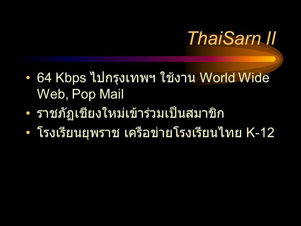 ThaiSarn II •64 Kbps ไปกรุงเทพฯ ใช้งาน World Wide Web, Pop Mail • ราชภัฏเชียงใหม่เข้าร่วมเป็นสมาชิก • โรงเรียนยุพราช เครือข่ายโรงเรียนไทย K-12