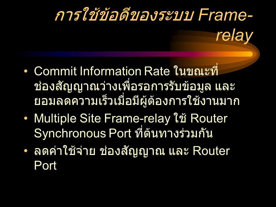 การใช้ข้อดีของระบบ Frame- relay •Commit Information Rate ในขณะที่ ช่องสัญญาณว่างเพื่อรอการรับข้อมูล และ ยอมลดความเร็วเมื่อมีผู้ต้องการใช้งานมาก •Multiple Site Frame-relay ใช้ Router Synchronous Port ที่ต้นทางร่วมกัน • ลดค่าใช้จ่าย ช่องสัญญาณ และ Router Port