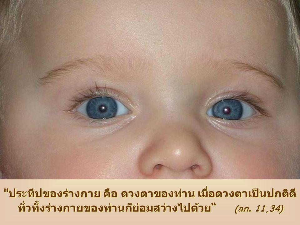 ประทีปของร่างกาย คือ ดวงตาของท่าน เมื่อดวงตาเป็นปกติดี ทั่วทั้งร่างกายของท่านก็ย่อมสว่างไปด้วย ประทีปของร่างกาย คือ ดวงตาของท่าน เมื่อดวงตาเป็นปกติดี ทั่วทั้งร่างกายของท่านก็ย่อมสว่างไปด้วย (ลก.11,34)แผ่นพับพระวาจาทรงชีวิตประจำเดือนจัดพิมพ์โดยคณะโฟโคลาเร กราฟฟิก โดยด้วยความร่วมมือจาก กราฟฟิก โดย Anna Lollo ด้วยความร่วมมือจาก Fr.