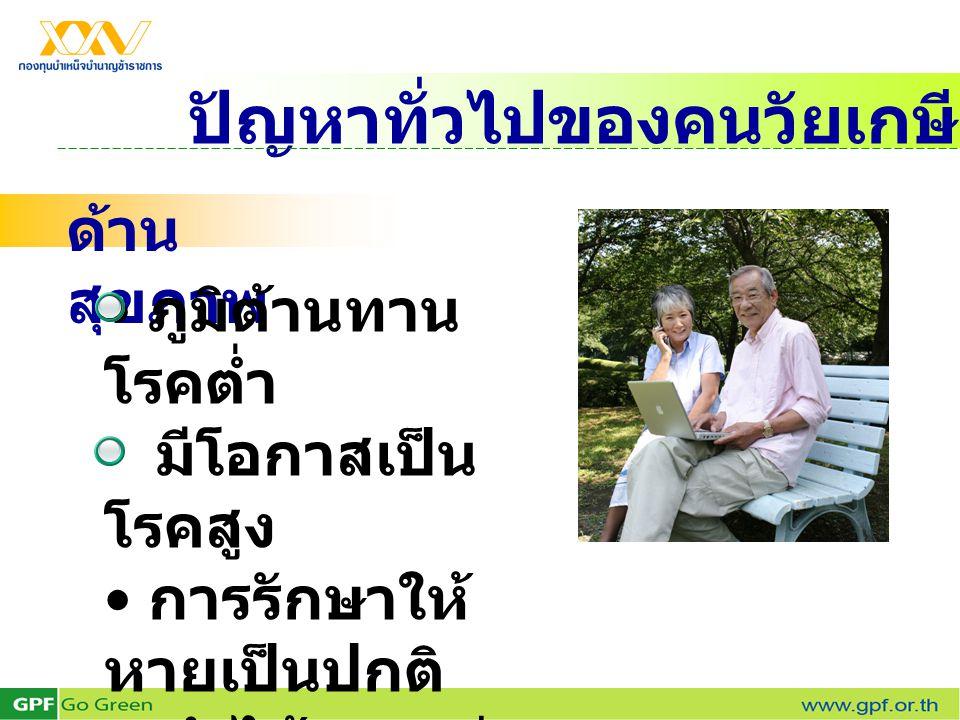 ปัญหาทั่วไปของคนวัยเกษียณ ด้าน สุขภาพ • ภูมิต้านทาน โรคต่ำ มีโอกาสเป็น โรคสูง • การรักษาให้ หายเป็นปกติ ทำได้ยากกว่า วัยอื่น