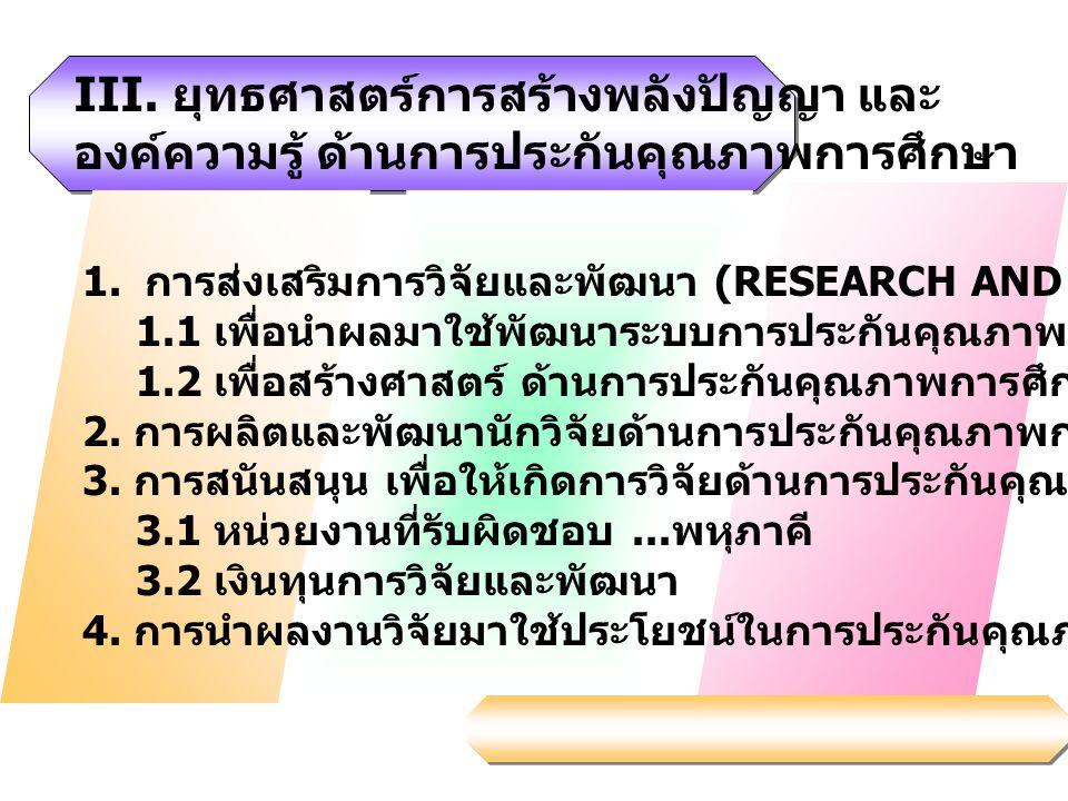 III. ยุทธศาสตร์การสร้างพลังปัญญา และ องค์ความรู้ ด้านการประกันคุณภาพการศึกษา 1. การส่งเสริมการวิจัยและพัฒนา (RESEARCH AND DEVELOPMENT) 1.1 เพื่อนำผลมา