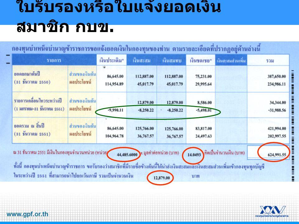 www.gpf.or.th ใบรับรองหรือใบแจ้งยอดเงิน สมาชิก กบข.