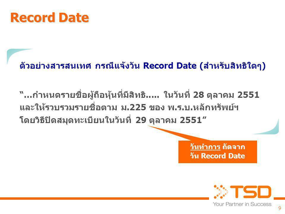 """ตัวอย่างสารสนเทศ กรณีแจ้งวัน Record Date (สำหรับสิทธิใดๆ) """"…กำหนดรายชื่อผู้ถือหุ้นที่มีสิทธิ..... ในวันที่ 28 ตุลาคม 2551 และให้รวบรวมรายชื่อตาม ม.225"""