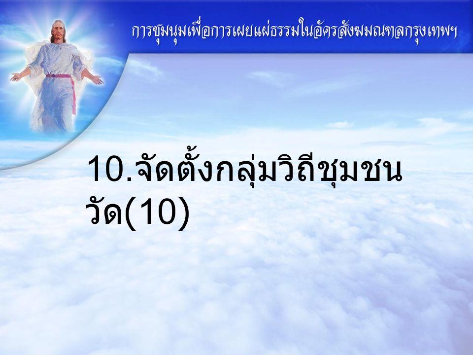 10. จัดตั้งกลุ่มวิถีชุมชน วัด (10)