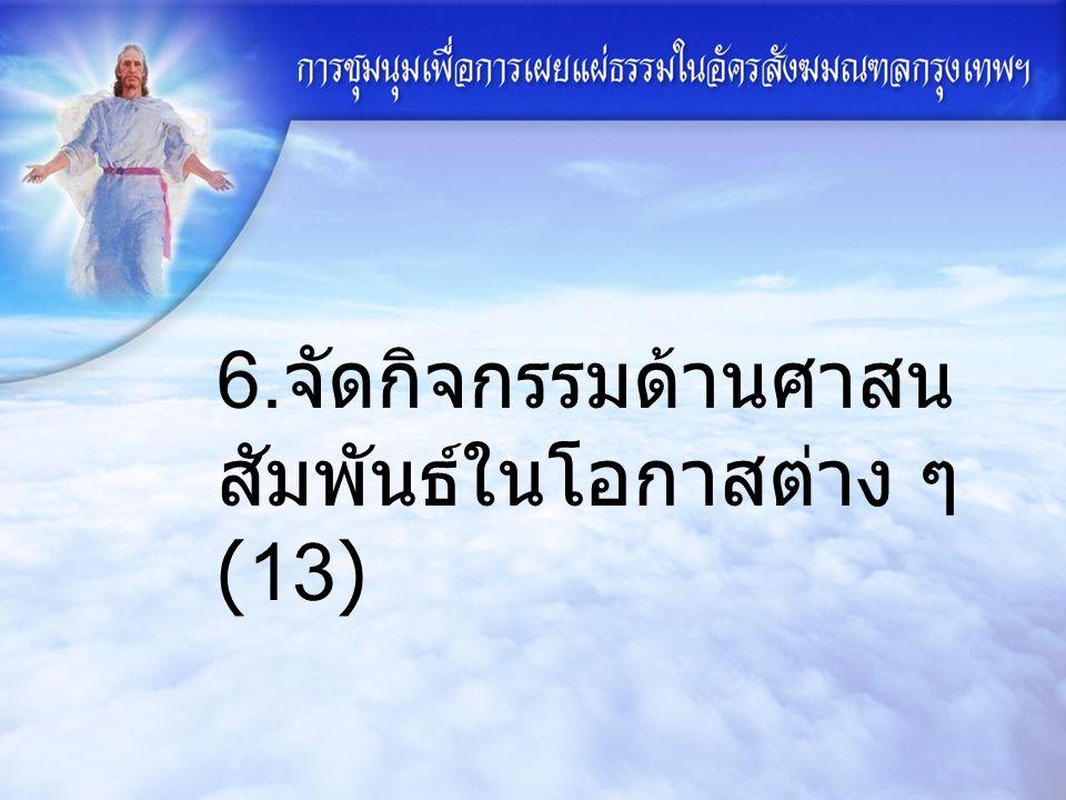 6. จัดกิจกรรมด้านศาสน สัมพันธ์ในโอกาสต่าง ๆ (13)