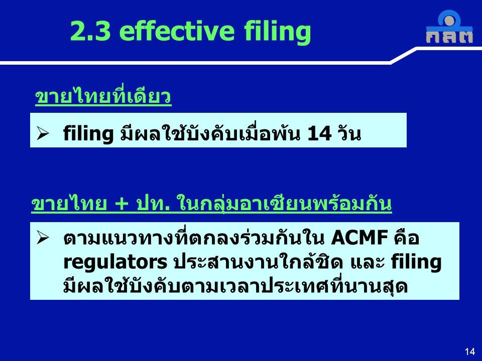 14 2.3 effective filing  ตามแนวทางที่ตกลงร่วมกันใน ACMF คือ regulators ประสานงานใกล้ชิด และ filing มีผลใช้บังคับตามเวลาประเทศที่นานสุด ขายไทยที่เดียว