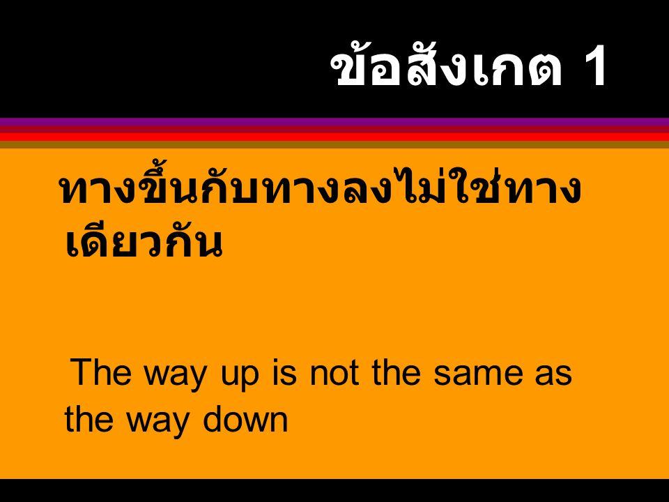 ข้อสังเกต 1 ทางขึ้นกับทางลงไม่ใช่ทาง เดียวกัน The way up is not the same as the way down