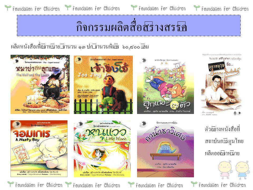 กิจกรรมผลิตสื่อสร้างสรรค์ ผลิตหนังสือเพื่อจำหน่าย จำนวน ๑๓ ปก จำนวนพิมพ์ ๖๐, ๘๐๐ เล่ม ตัวอย่างหนังสือที่ สถาบันการ์ตูนไทย ผลิตออกจำหน่าย