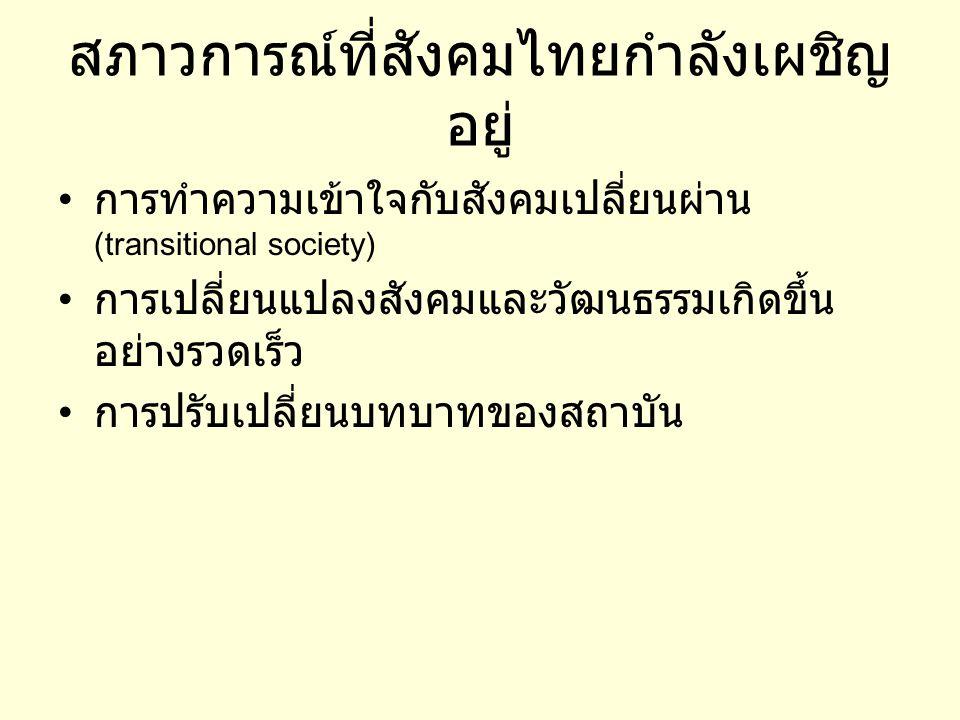 สภาวการณ์ที่สังคมไทยกำลังเผชิญ อยู่ • การทำความเข้าใจกับสังคมเปลี่ยนผ่าน (transitional society) • การเปลี่ยนแปลงสังคมและวัฒนธรรมเกิดขึ้น อย่างรวดเร็ว