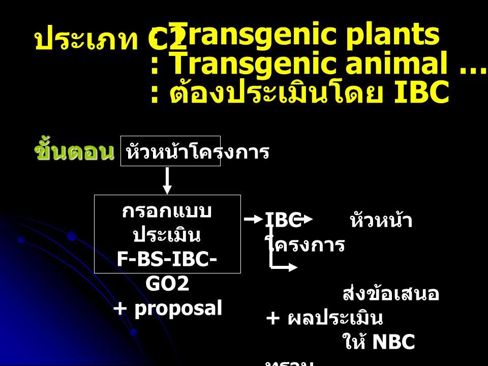 ประเภท C2 : Transgenic plants : Transgenic animal ….( หน้าที่ 21) : ต้องประเมินโดย IBC ขั้นตอน หัวหน้าโครงการ กรอกแบบ ประเมิน F-BS-IBC- GO2 + proposal