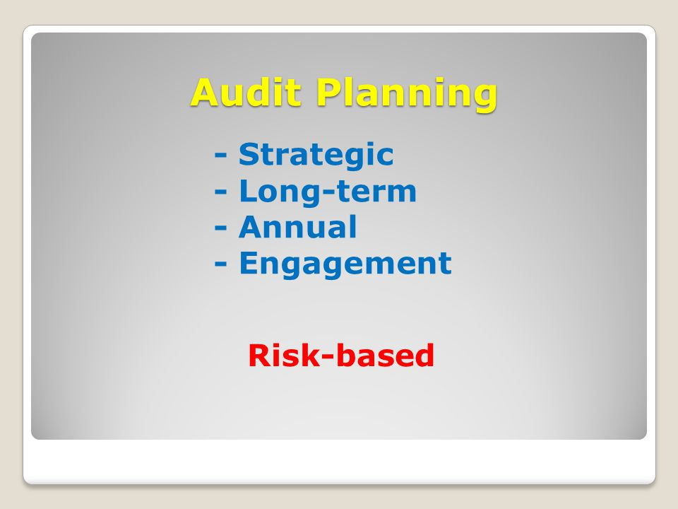 Audit Planning Audit Planning - Strategic - Long-term - Annual - Engagement Risk-based