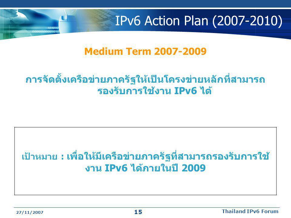 27/11/2007 Thailand IPv6 Forum 15 IPv6 Action Plan (2007-2010) Medium Term 2007-2009 การจัดตั้งเครือข่ายภาครัฐให้เป็นโครงข่ายหลักที่สามารถ รองรับการใช