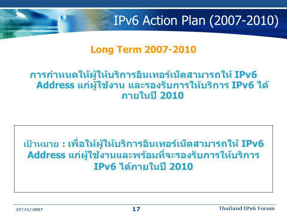 27/11/2007 Thailand IPv6 Forum 17 IPv6 Action Plan (2007-2010) Long Term 2007-2010 การกำหนดให้ผู้ให้บริการอินเทอร์เน็ตสามารถให้ IPv6 Address แก่ผู้ใช้