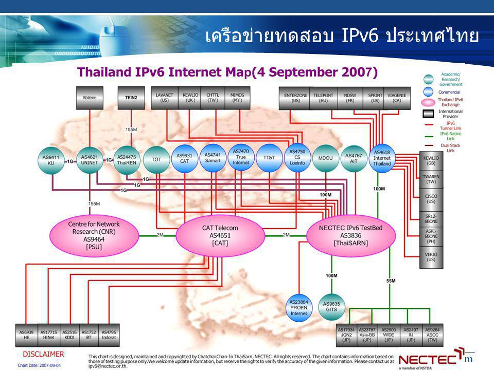 27/11/2007 Thailand IPv6 Forum 22 เครือข่ายทดสอบ IPv6 ประเทศไทย