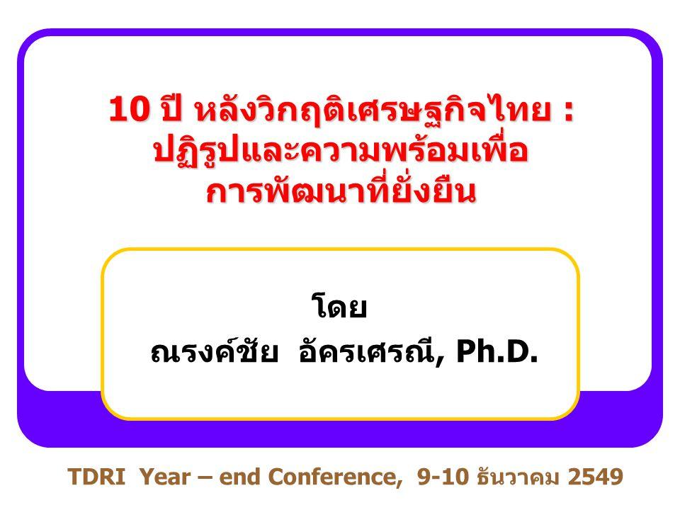 10 ปี หลังวิกฤติเศรษฐกิจไทย : ปฏิรูปและความพร้อมเพื่อ การพัฒนาที่ยั่งยืน โดย ณรงค์ชัย อัครเศรณี, Ph.D. TDRI Year – end Conference, 9-10 ธันวาคม 2549