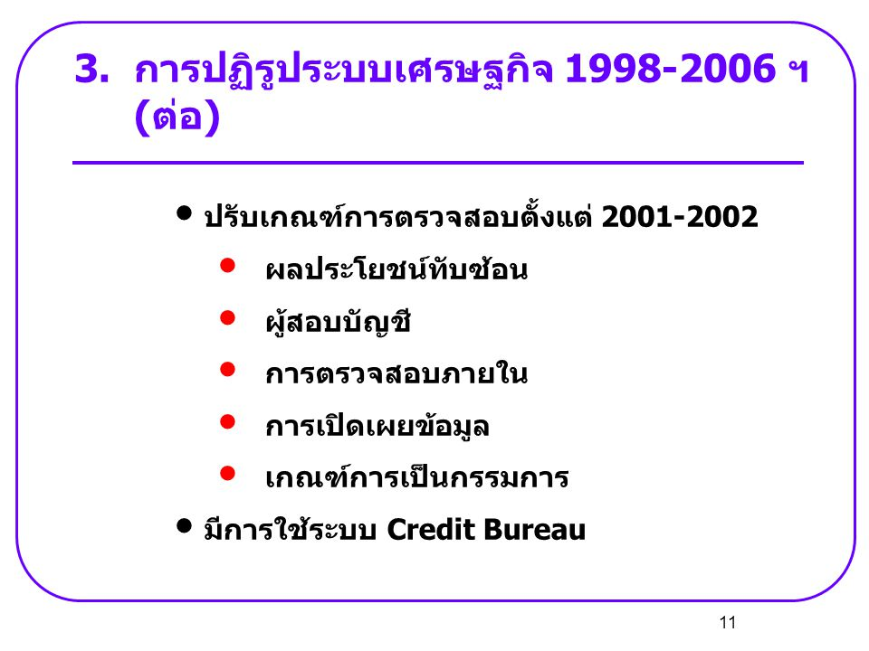 11 3.การปฏิรูประบบเศรษฐกิจ 1998-2006 ฯ (ต่อ) • ปรับเกณฑ์การตรวจสอบตั้งแต่ 2001-2002 • ผลประโยชน์ทับซ้อน • ผู้สอบบัญชี • การตรวจสอบภายใน • การเปิดเผยข้
