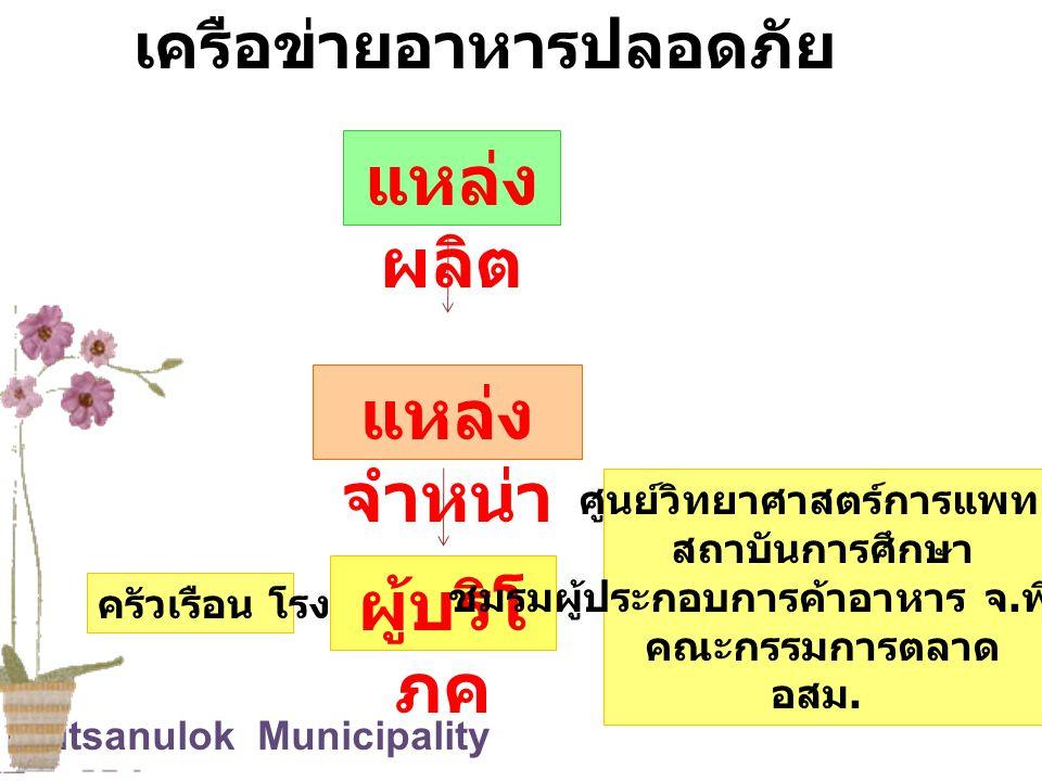 Phitsanulok Municipality ครัวเรือน โรงเรียน แหล่ง จำหน่า ย แหล่ง ผลิต ผู้บริโ ภค ศูนย์วิทยาศาสตร์การแพทย์ สถาบันการศึกษา ชมรมผู้ประกอบการค้าอาหาร จ. พ