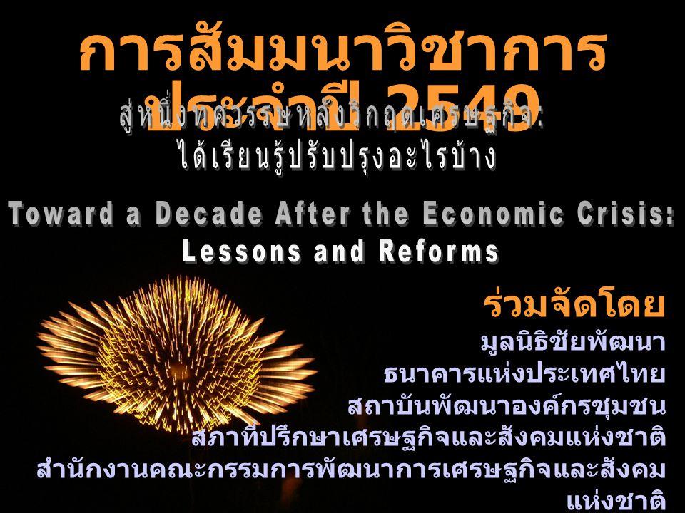 ร่วมจัดโดย มูลนิธิชัยพัฒนา ธนาคารแห่งประเทศไทย สถาบันพัฒนาองค์กรชุมชน สภาที่ปรึกษาเศรษฐกิจและสังคมแห่งชาติ สำนักงานคณะกรรมการพัฒนาการเศรษฐกิจและสังคม แห่งชาติ สถาบันวิจัยเพื่อการพัฒนาประเทศไทย การสัมมนาวิชาการ ประจำปี 2549