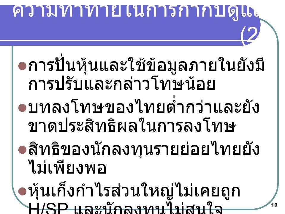 10  การปั่นหุ้นและใช้ข้อมูลภายในยังมี การปรับและกล่าวโทษน้อย  บทลงโทษของไทยต่ำกว่าและยัง ขาดประสิทธิผลในการลงโทษ  สิทธิของนักลงทุนรายย่อยไทยยัง ไม่เพียงพอ  หุ้นเก็งกำไรส่วนใหญ่ไม่เคยถูก H/SP และนักลงทุนไม่สนใจ ความท้าทายในการกำกับดูแล (2)