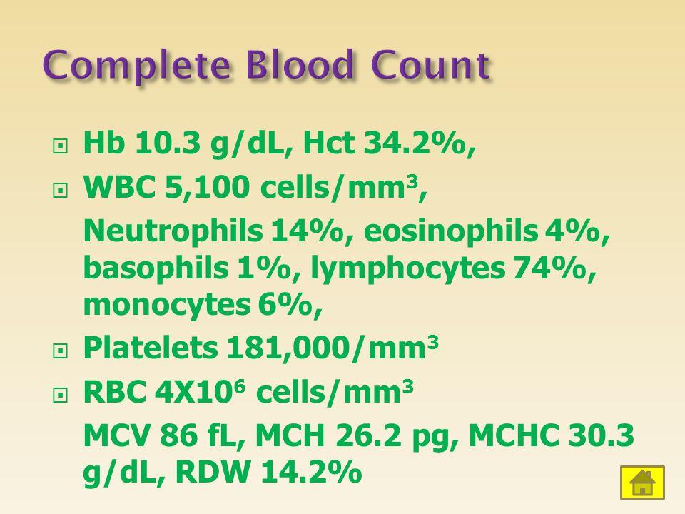  Hb 10.3 g/dL, Hct 34.2%,  WBC 5,100 cells/mm 3, Neutrophils 14%, eosinophils 4%, basophils 1%, lymphocytes 74%, monocytes 6%,  Platelets 181,000/mm 3  RBC 4X10 6 cells/mm 3 MCV 86 fL, MCH 26.2 pg, MCHC 30.3 g/dL, RDW 14.2%