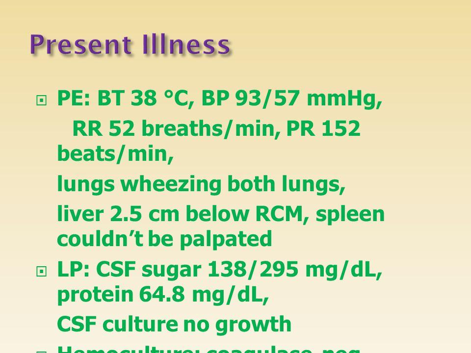  PE: BT 38 °C, BP 93/57 mmHg, RR 52 breaths/min, PR 152 beats/min, lungs wheezing both lungs, liver 2.5 cm below RCM, spleen couldn't be palpated  L