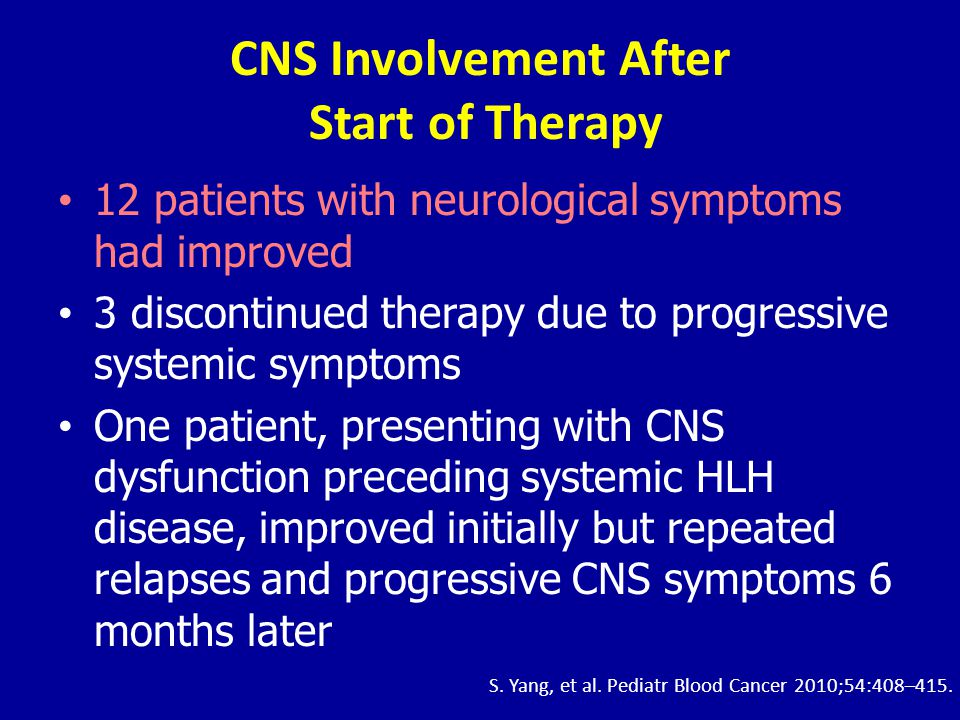 CNS Involvement After Start of Therapy •12 patients with neurological symptoms had improved •3 discontinued therapy due to progressive systemic sympto
