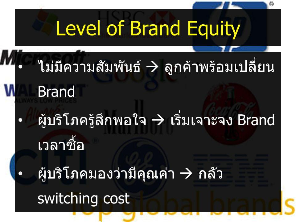 Level of Brand Equity • ไม่มีความสัมพันธ์  ลูกค้าพร้อมเปลี่ยน Brand • ผู้บริโภครู้สึกพอใจ  เริ่มเจาะจง Brand เวลาซื้อ • ผู้บริโภคมองว่ามีคุณค่า  กล
