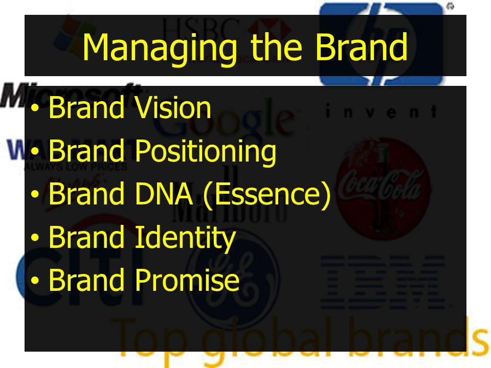 Managing the Brand •Brand Vision •Brand Positioning •Brand DNA (Essence) •Brand Identity •Brand Promise