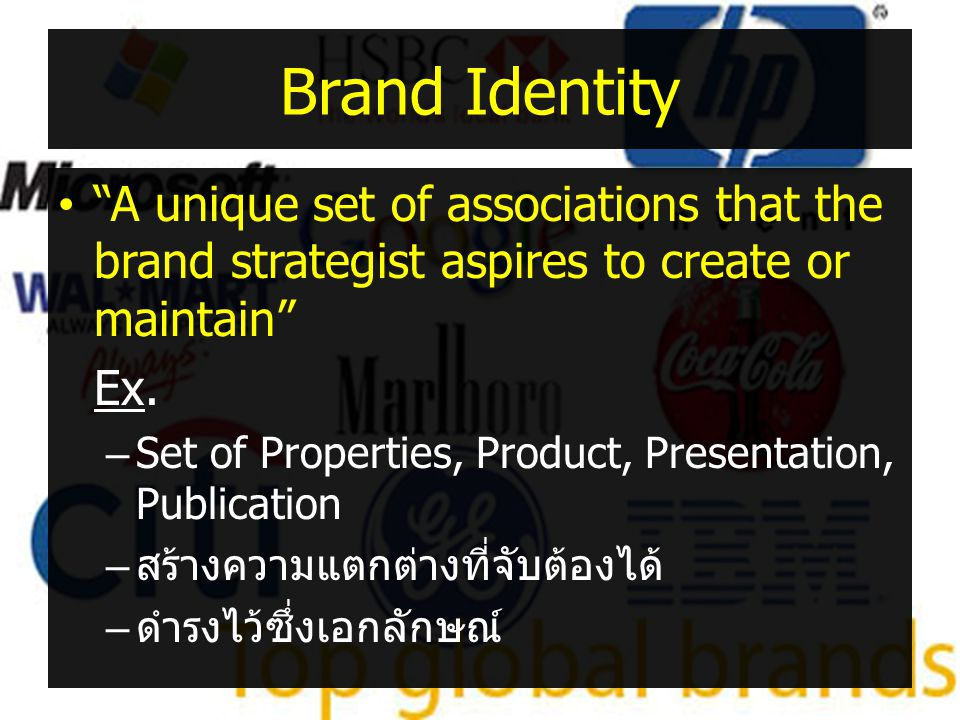 """Brand Identity •""""A unique set of associations that the brand strategist aspires to create or maintain"""" Ex. –Set of Properties, Product, Presentation,"""
