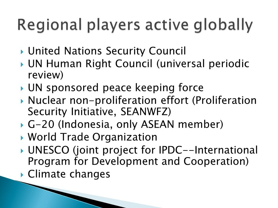  ASEAN Regional Forum (ARF)—ASEAN plus 17  East Asia Summit (EAS)—ASEAN plus eight  Asia Europe Summit (ASEM)—ASEAN plus 41  Asia-Middle East Dialogue (AMED)—ASEAN plus 27  ASEAN Defense Ministers Meeting Plus (ADMM- Plus)—ASEAN, US, Russia, China, S Korea, Japan, Australia, New Zealand, India  ASEAN Integrated Food Security (AIFS)—G20 Action Plan on Food Price Volatility and Agriculture  Chiangmai Initiative Multilaterisation (CMIM)  Global Dialogue Forum