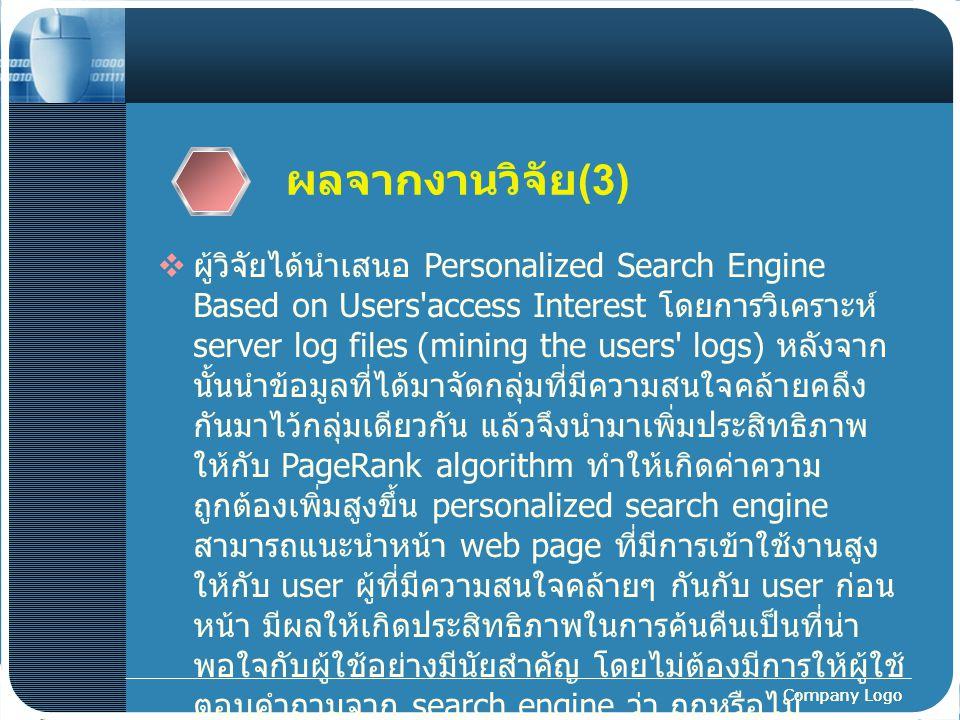 Company Logo ผลจากงานวิจัย (3)  ผู้วิจัยได้นำเสนอ Personalized Search Engine Based on Users'access Interest โดยการวิเคราะห์ server log files (mining