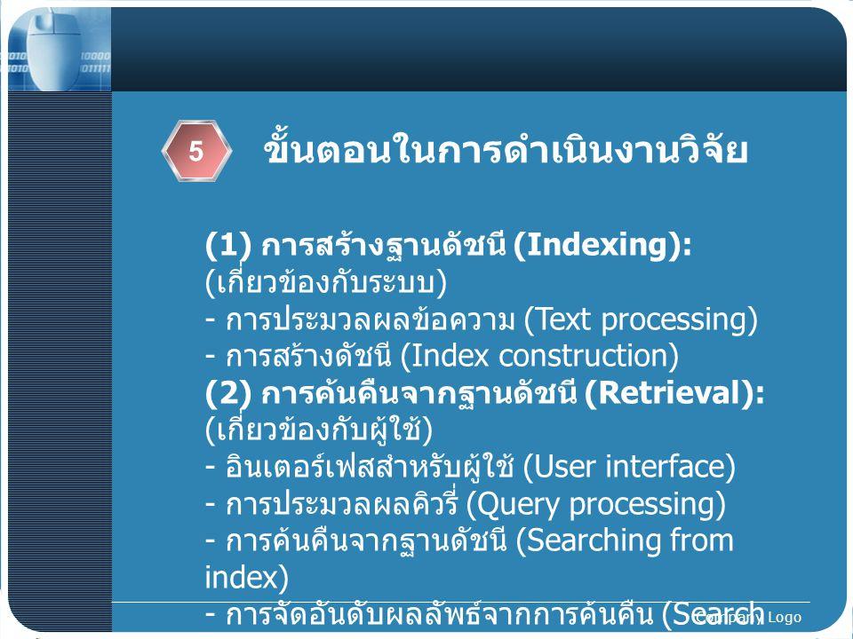 Company Logo ขั้นตอนในการดำเนินงานวิจัย 5 (1) การสร้างฐานดัชนี (Indexing): ( เกี่ยวข้องกับระบบ ) - การประมวลผลข้อความ (Text processing) - การสร้างดัชน