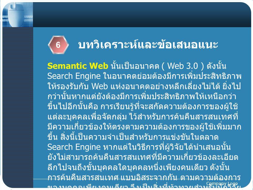 Company Logo บทวิเคราะห์และข้อเสนอแนะ 6 Semantic Web นั้นเป็นอนาคต ( Web 3.0 ) ดังนั้น Search Engine ในอนาคตย่อมต้องมีการเพิ่มประสิทธิภาพ ให้รองรับกับ
