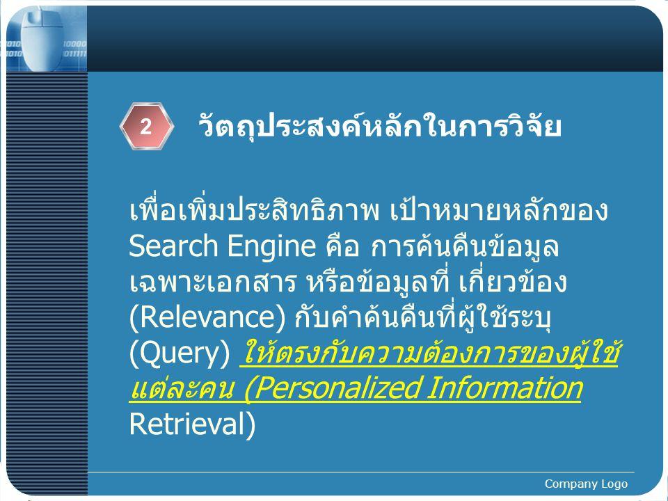 Company Logo แนวคิดและทฤษฎีที่เกี่ยวข้องที่ใช้ในงานวิจัย (3)  Personalized Search Engine  user s log, Web mining