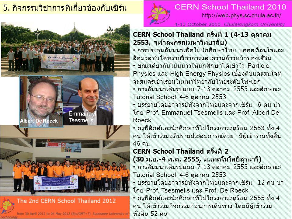 5. กิจกรรมวิชาการที่เกี่ยวข้องกับเซิร์น CERN School Thailand ครั้งที่ 1 (4-13 ตุลาคม 2553, จุฬาลงกรณ์มหาวิทยาลัย) • การประชุมสัมมนาเพื่อให้นักศึกษาไทย