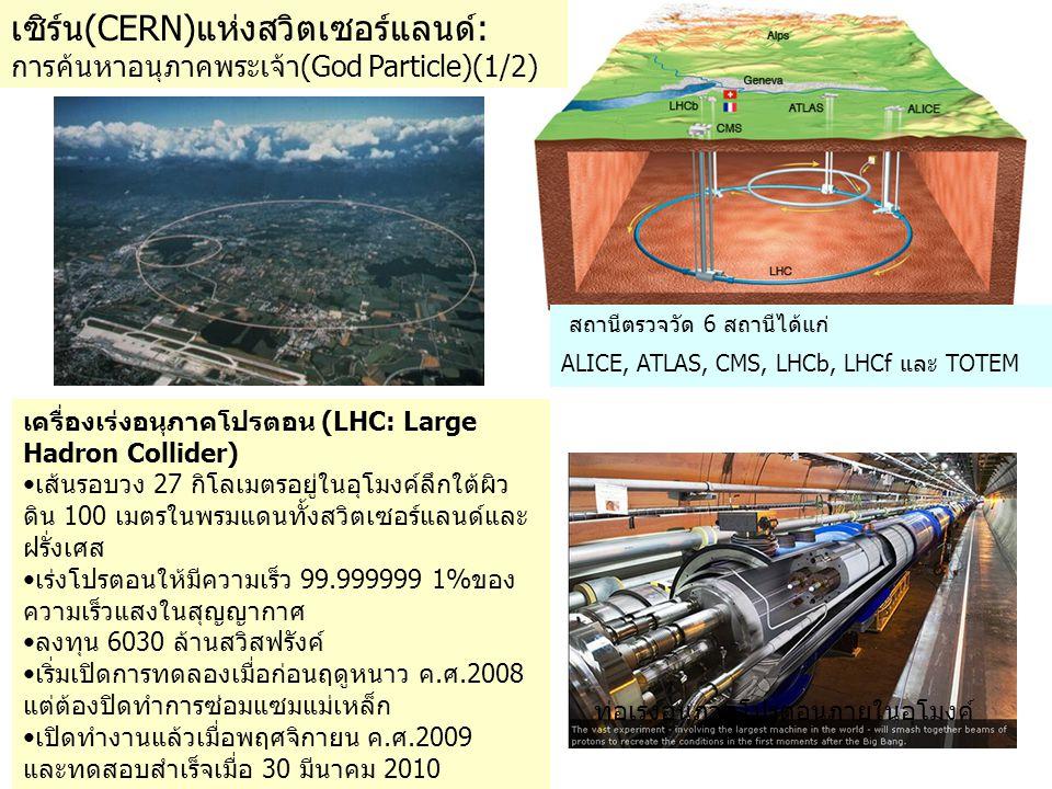 เครื่องเร่งอนุภาคโปรตอน (LHC: Large Hadron Collider) •เส้นรอบวง 27 กิโลเมตรอยู่ในอุโมงค์ลึกใต้ผิว ดิน 100 เมตรในพรมแดนทั้งสวิตเซอร์แลนด์และ ฝรั่งเศส •