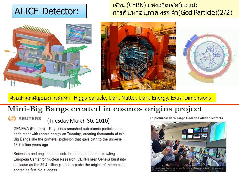 (Tuesday March 30, 2010) ALICE Detector: ตัวอย่างสำคัญของการค้นหา Higgs particle, Dark Matter, Dark Energy, Extra Dimensions เซิร์น (CERN) แห่งสวิตเซอ