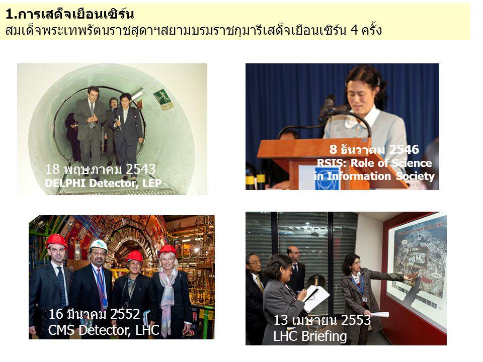 2.MoU ในการเสด็จเยือนครั้งที่ 3 เมื่อ16 มีนาคม 2552 ได้มีการลงนามใน EOI (Expression of Interest) ระหว่าง สถาบันวิจัยแสงซินโครตรอนประเทศไทยกับ CMS (Compact Muon Solenoid) Experiment ของเซิร์น