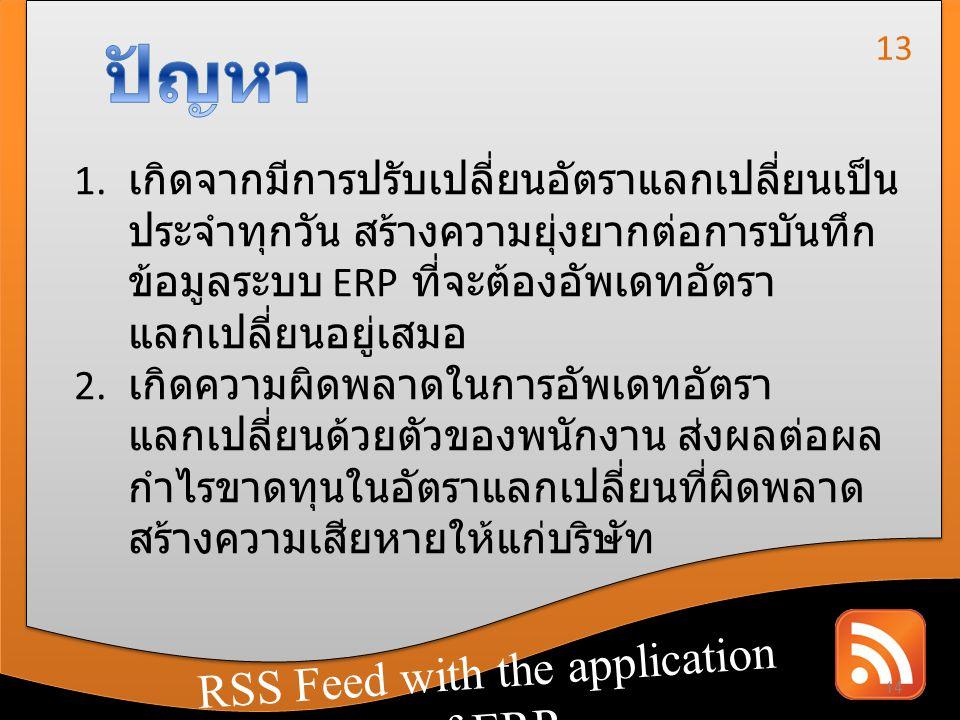 RSS Feed with the application of CRM RSS Feed with the application of ERP 1. เกิดจากมีการปรับเปลี่ยนอัตราแลกเปลี่ยนเป็น ประจำทุกวัน สร้างความยุ่งยากต่