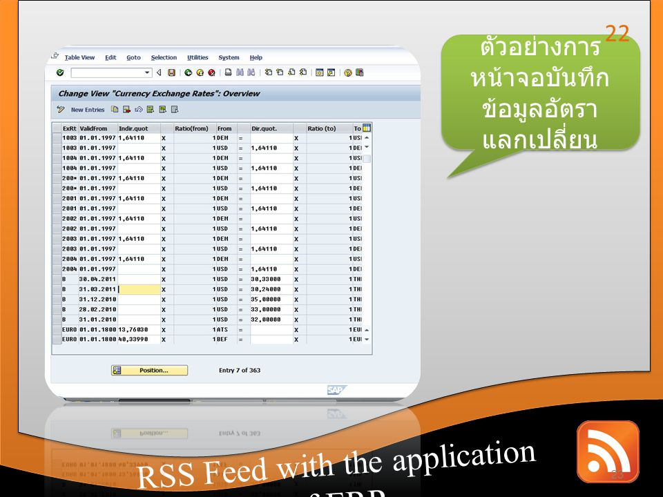 RSS Feed with the application of CRM RSS Feed with the application of ERP ตัวอย่างการ หน้าจอบันทึก ข้อมูลอัตรา แลกเปลี่ยน 23 22