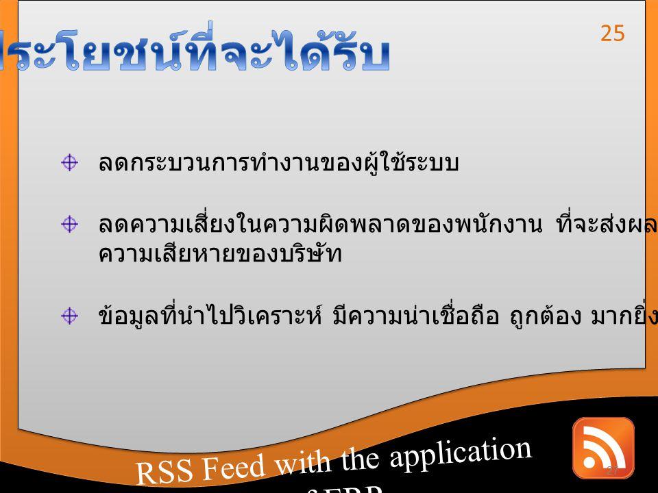 RSS Feed with the application of CRM RSS Feed with the application of ERP ลดกระบวนการทำงานของผู้ใช้ระบบ ลดความเสี่ยงในความผิดพลาดของพนักงาน ที่จะส่งผล