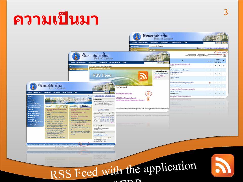 RSS Feed with the application of CRM RSS Feed with the application of ERP ความเป็นมา RSS ปัญหา วัตถุประสงค์ ขอบเขตการทำงาน แนวทางแก้ปัญหา ประโยชน์ที่จะได้รับ 5 4