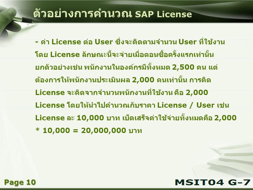 Copyright © Wondershare Software ตัวอย่างการคำนวณ SAP License - ค่า License ต่อ User ซึ่งจะคิดตามจำนวน User ที่ใช้งาน โดย License ลักษณะนี้จะจ่ายเมื่อ