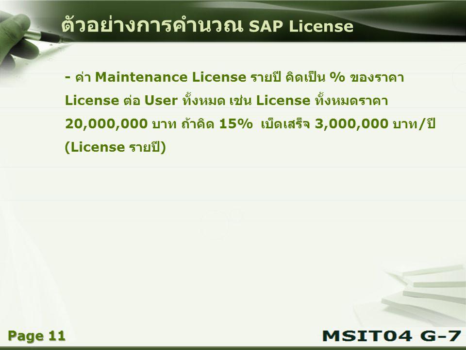 Copyright © Wondershare Software ตัวอย่างการคำนวณ SAP License - ค่า Maintenance License รายปี คิดเป็น % ของราคา License ต่อ User ทั้งหมด เช่น License