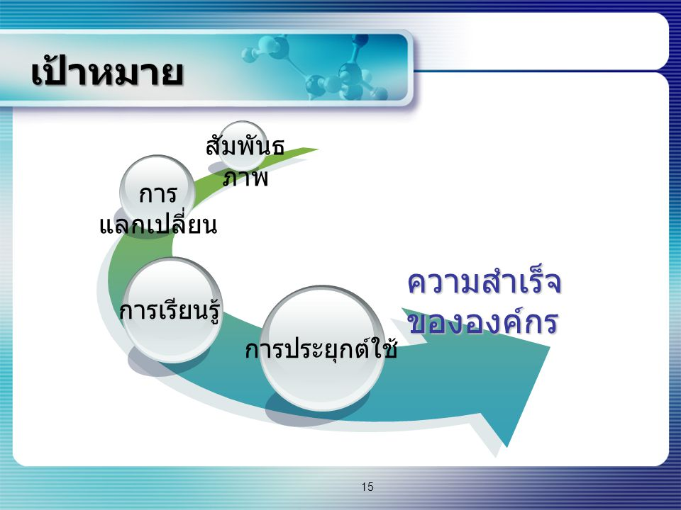 เป้าหมาย ความสำเร็จ ขององค์กร การเรียนรู้ การ แลกเปลี่ยน การประยุกต์ใช้ สัมพันธ ภาพ 15