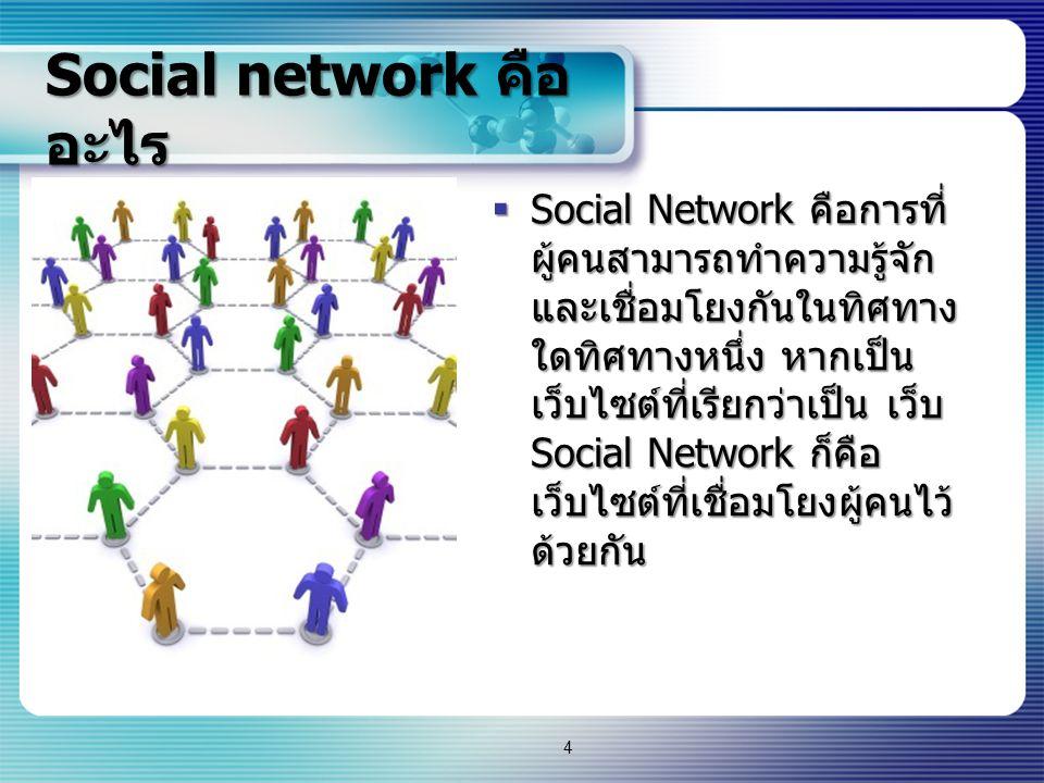 Social network คือ อะไร  Social Network คือการที่ ผู้คนสามารถทำความรู้จัก และเชื่อมโยงกันในทิศทาง ใดทิศทางหนึ่ง หากเป็น เว็บไซต์ที่เรียกว่าเป็น เว็บ