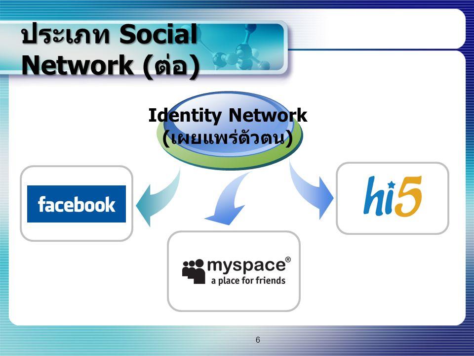 ประเภท Social Network ( ต่อ ) Creative Network ( เผยแพร่ผลงาน ) 7