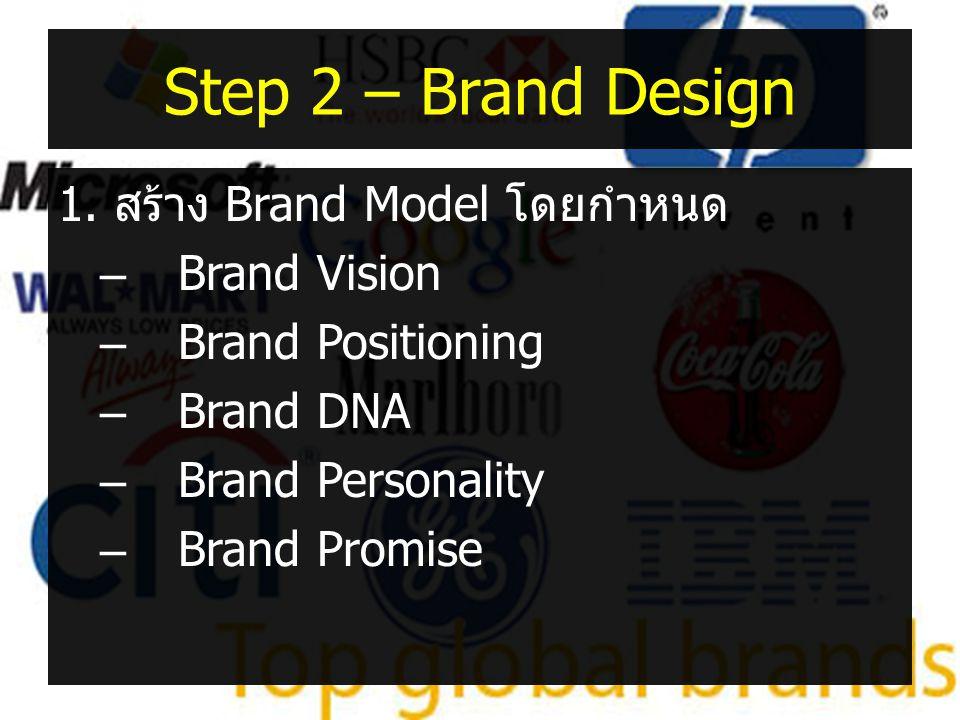 Step 2 – Brand Design 1. สร้าง Brand Model โดยกำหนด –Brand Vision –Brand Positioning –Brand DNA –Brand Personality –Brand Promise