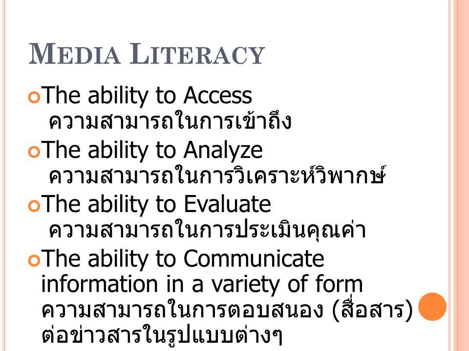 แนวทางการรู้เท่าทันและ วิเคราะห์สื่อ ( CODE OF CONDUCT ) 1.